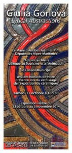 Guilia Gorlova invitation solo exhibition Antibes (France)